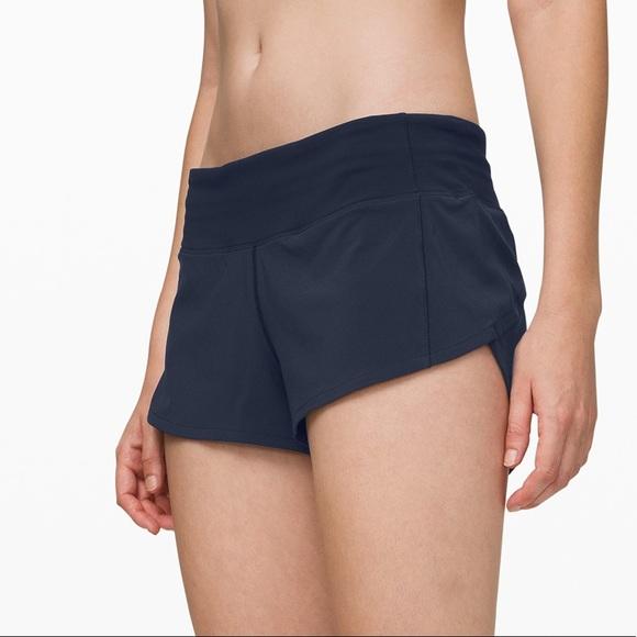 """Navy Blue Lululemon Speed Up Shorts 2.5"""""""